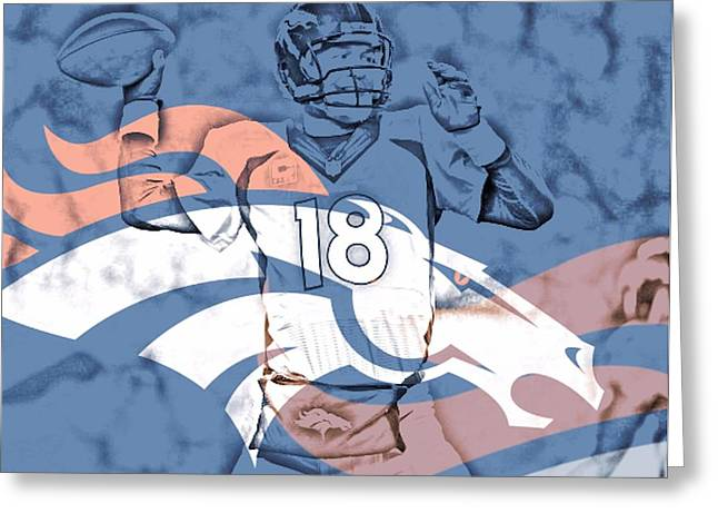 Offense Mixed Media Greeting Cards - Peyton Manning Greeting Card by Dan Sproul