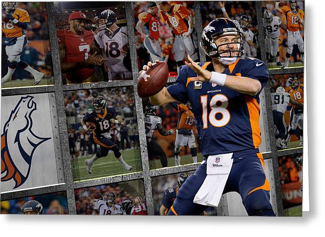 Broncos Greeting Cards - Peyton Manning Denver Broncos Greeting Card by Joe Hamilton