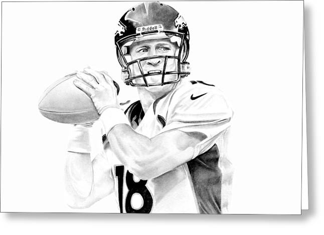 Best Sellers -  - Don Medina Greeting Cards - Peyton Manning Greeting Card by Don Medina