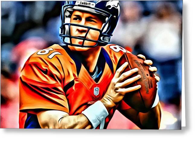 Peyton Manning Greeting Card by Florian Rodarte