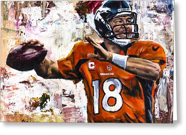 Peyton Manning Greeting Card by Mark Courage