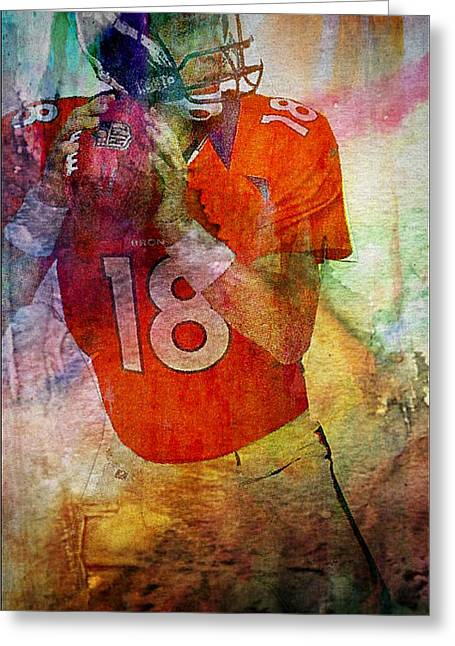 Broncos Mixed Media Greeting Cards - Peyton Manning Greeting Card by M and L Creations