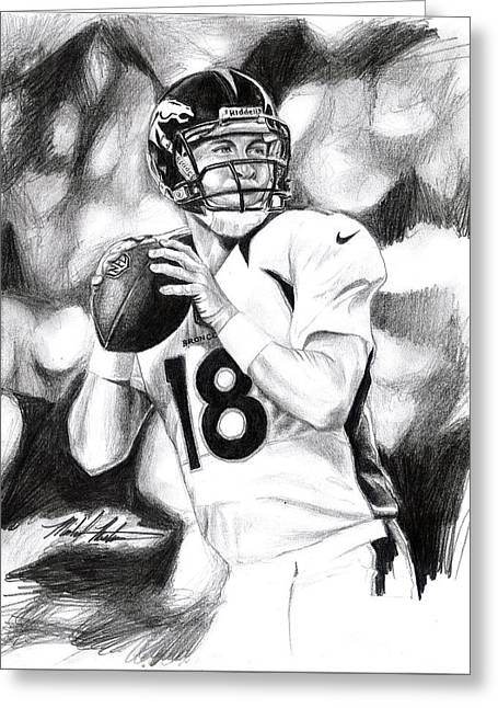 Elway Greeting Cards - Peyton Manning Greeting Card by Michael Mestas
