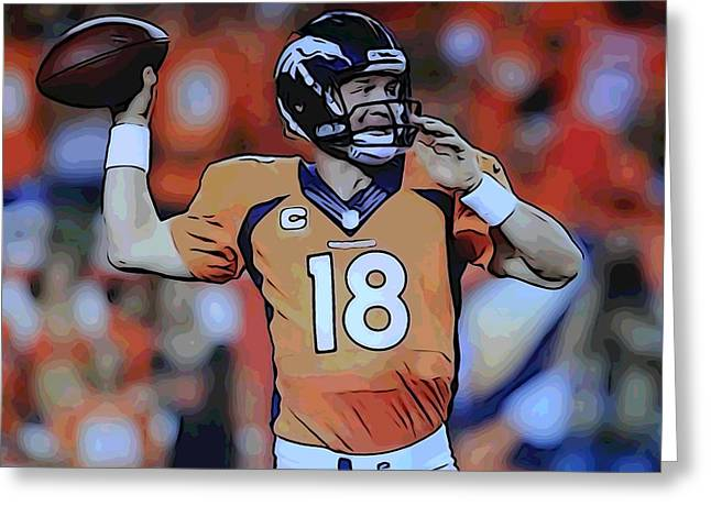 Offense Digital Art Greeting Cards - Peyton Manning Poster Greeting Card by Dan Sproul