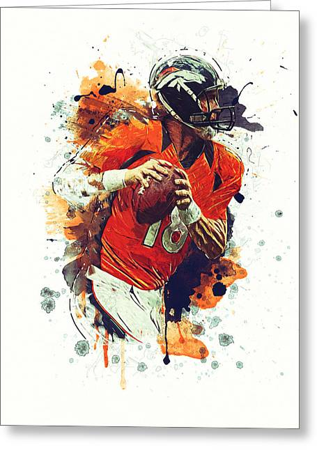 Peyton Manning Greeting Card by Taylan Soyturk