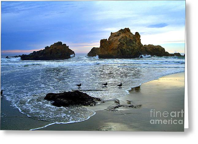 Big Sur Greeting Cards - Pfeiffer Beach Big Sur Twilight Greeting Card by Charlene Mitchell