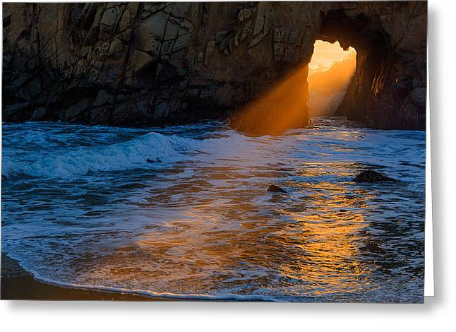 California Beach Greeting Cards - Pfeiffer Beach God Rays 2012 Greeting Card by Ralph Nordstrom