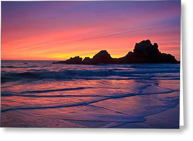 Coast Highway One Greeting Cards - Pfeiffer Beach Sunset 2012 Greeting Card by Ralph Nordstrom