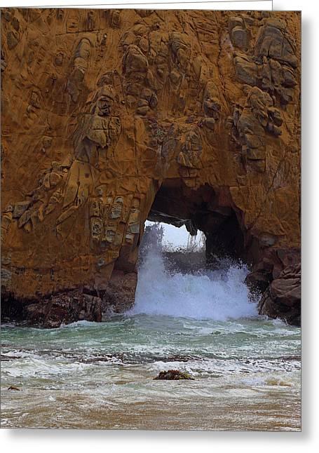 Pfeiffer Beach Greeting Cards - Pfeiffer Beach Keyhole Rock Greeting Card by Viktor Savchenko