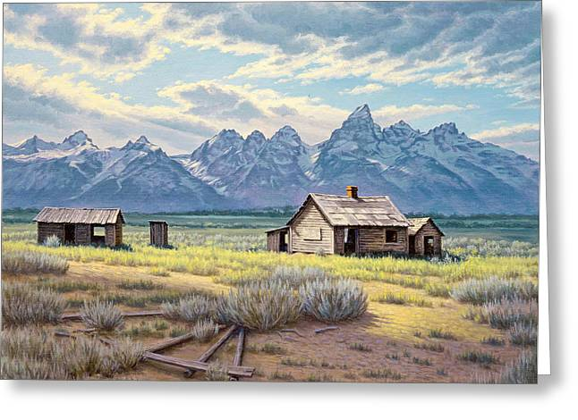 Old Houses Greeting Cards - Pfeiffer Homestead-Tetons Greeting Card by Paul Krapf