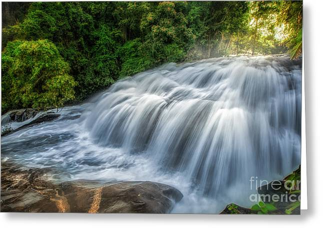 Lighted Pathway Greeting Cards - Pha Dokseaw waterfall  Greeting Card by Anek Suwannaphoom