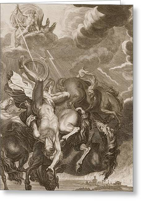 Lightning Bolts Greeting Cards - Phaeton Struck Down By Jupiters Greeting Card by Bernard Picart
