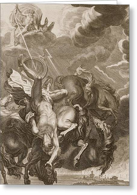 Phaeton Struck Down By Jupiter's Thunderbolt Greeting Card by Bernard Picart