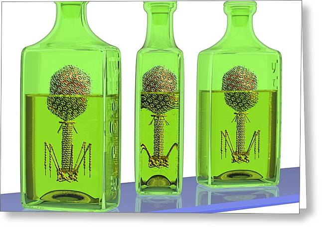 Phage Therapy Bottles Greeting Card by Russell Kightley
