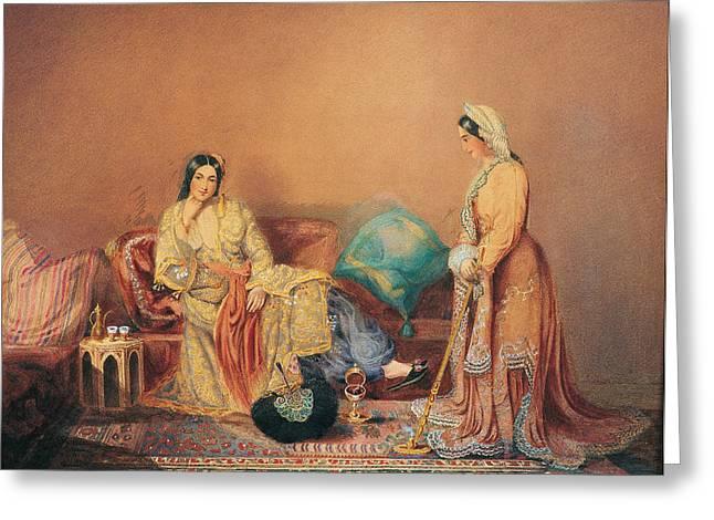 Riviere Paintings Greeting Cards - Phanariot Greek Ladies Greeting Card by Daniel Valentine Riviere