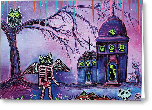 Creepy Cat Greeting Cards - Phantasm Greeting Card by Laura Barbosa
