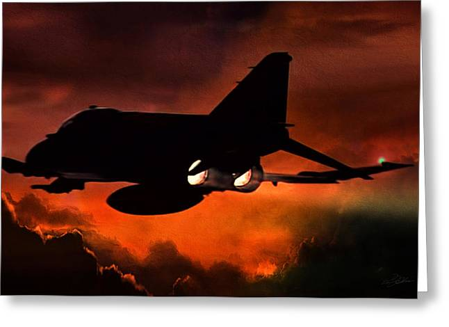 Plane Engine Greeting Cards - Phantom Burn Greeting Card by Peter Chilelli