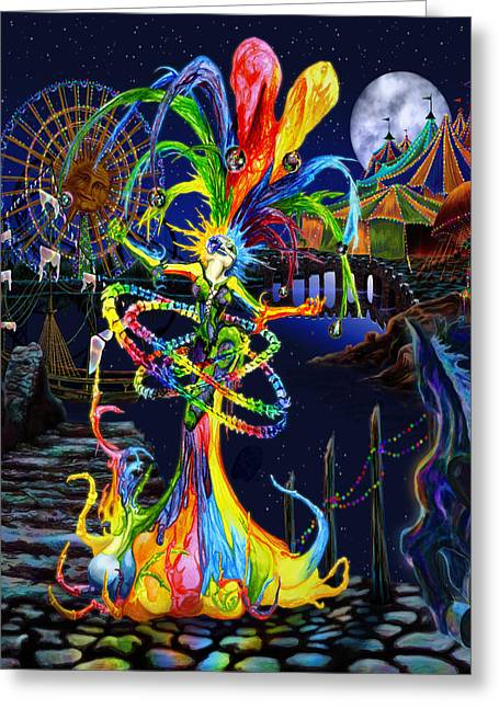 Pirate Ship Greeting Cards - Phantom Carnival Greeting Card by Kd Neeley