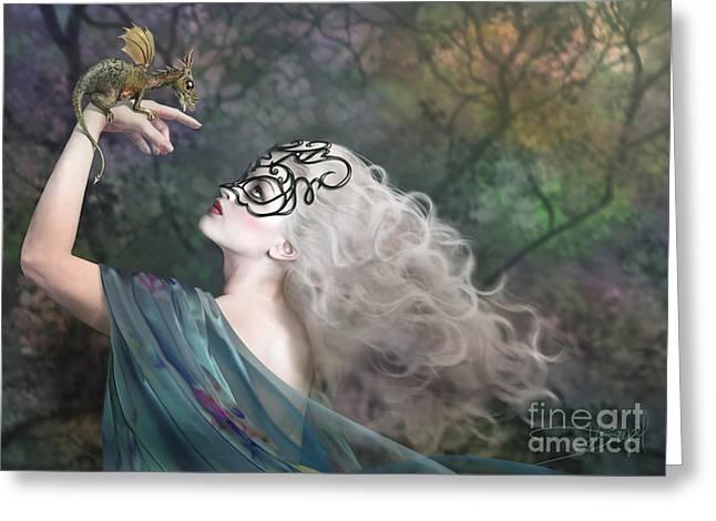 Female Mask Greeting Cards - Phantom Greeting Card by Drazenka Kimpel