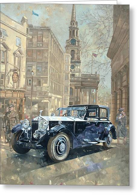 West End Greeting Cards - Phantom Near Trafalgar Square Oil On Canvas Greeting Card by Peter Miller