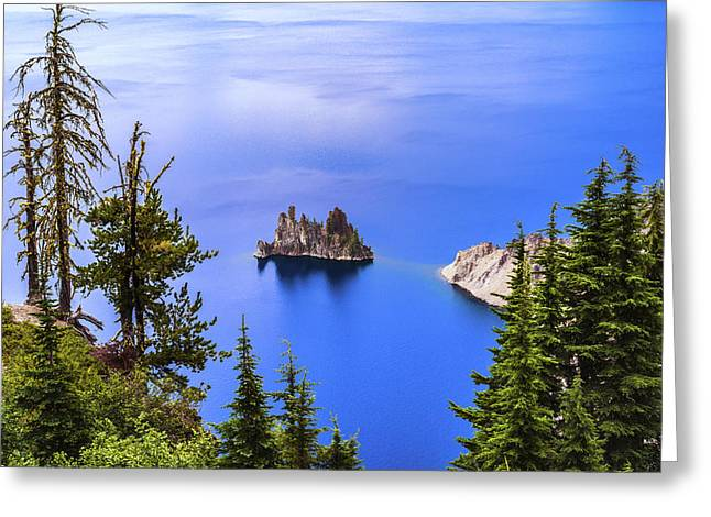 Crater Lake View Greeting Cards - Phantom Ship Greeting Card by Joseph S Giacalone