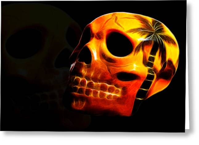 Shiny Mixed Media Greeting Cards - Phantom Skull Greeting Card by Shane Bechler