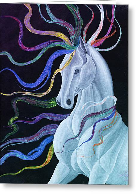 Surreal Fantasy Horse Fine Art Greeting Cards - Phantom Stallion Greeting Card by Anila Tac