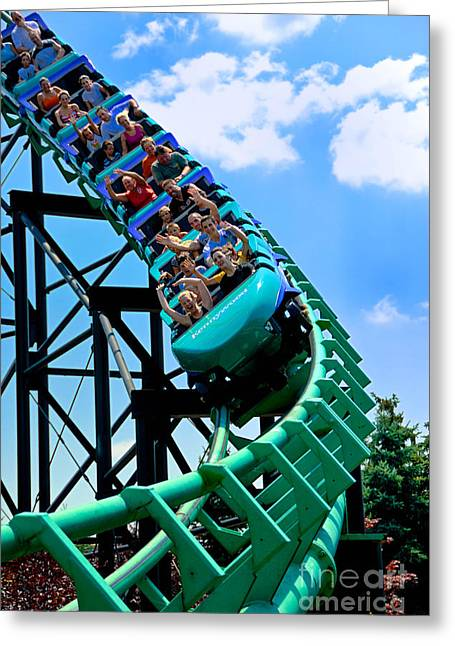 Danger Greeting Cards - Phantoms Revenue Steel Roller Coaster Kennywood Park Greeting Card by Amy Cicconi