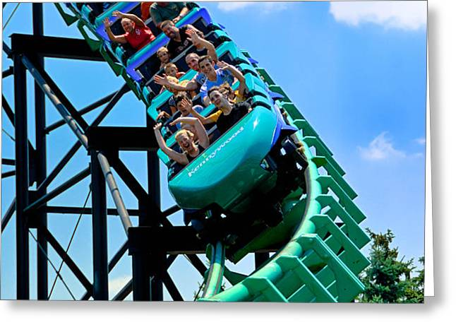 Phantoms Revenue Steel Roller Coaster Kennywood Park Greeting Card by Amy Cicconi