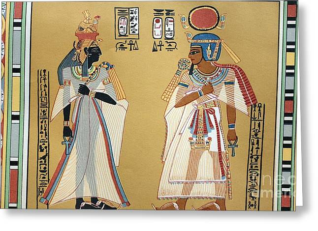 Pharaoh Greeting Cards - Pharaoh Amenhotep I And His Wife, 1880s Greeting Card by Bildagentur-online
