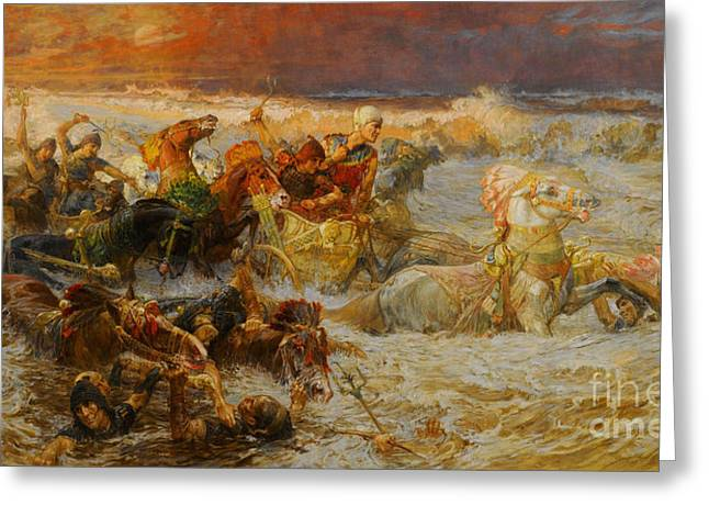 Engulfing Greeting Cards - Pharaoh And His Army Engulfed By The Red Sea Greeting Card by Frederick Arthur Bridgman