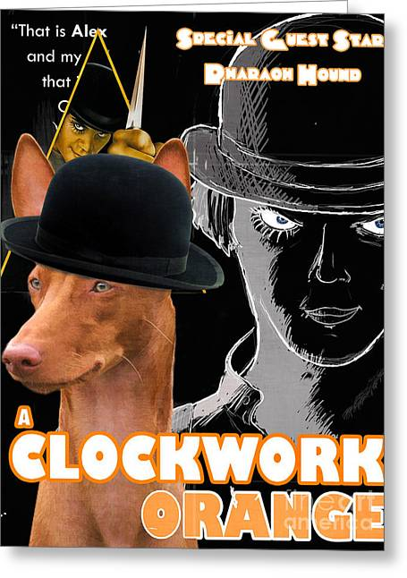 Pharaoh Greeting Cards - Pharaoh Hound Art Canvas Print - A Clockwork Orange Movie Poster Greeting Card by Sandra Sij