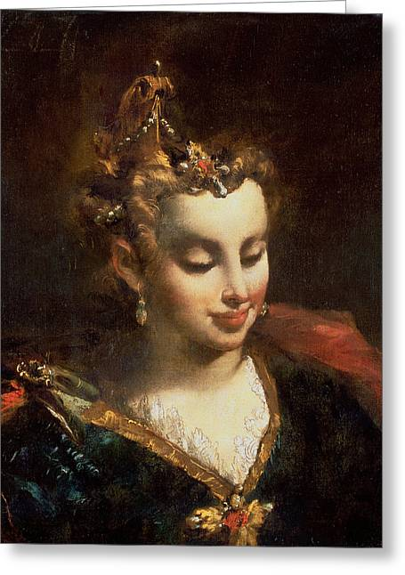 Earring Greeting Cards - Pharaohs Daughter, After Palma Il Greeting Card by Giovanni Antonio Guardi