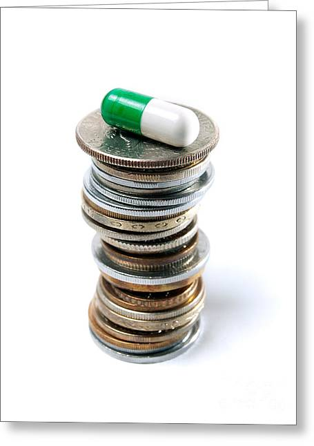 Coins Greeting Cards - Pharmaceutical industry Greeting Card by Sinisa Botas