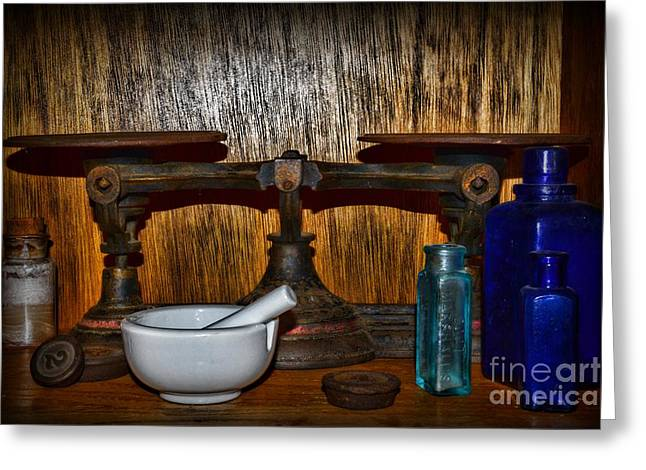 Old Grinders Photographs Greeting Cards - Pharmacist Balance Scale and More Greeting Card by Paul Ward