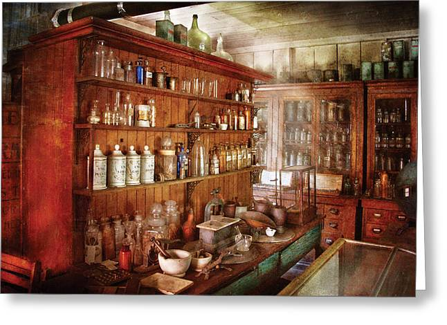 Art Product Greeting Cards - Pharmacist - Behind the scenes  Greeting Card by Mike Savad