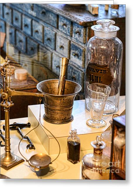 Pharmacist - Brass Mortar And Pestle Greeting Card by Paul Ward