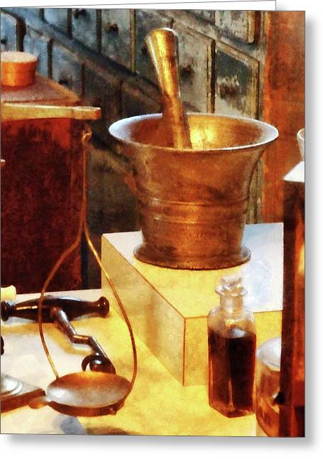 Bottle Greeting Cards - Pharmacist - Brass Mortar and Pestle Greeting Card by Susan Savad