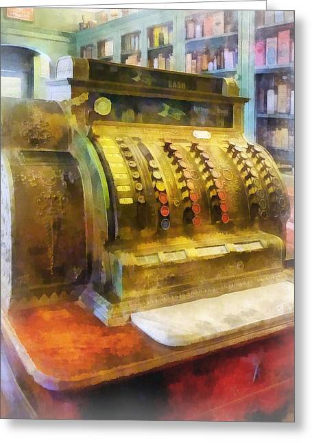 Medicine Greeting Cards - Pharmacist - Cash Register in Pharmacy Greeting Card by Susan Savad