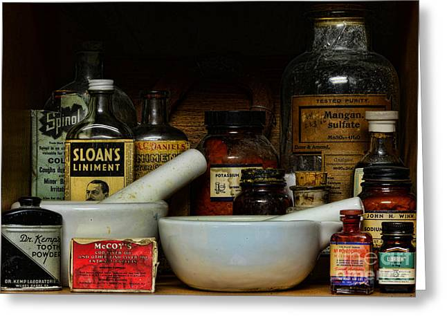 Liniment Greeting Cards - Pharmacist - Cod Liver Oil and More Greeting Card by Paul Ward