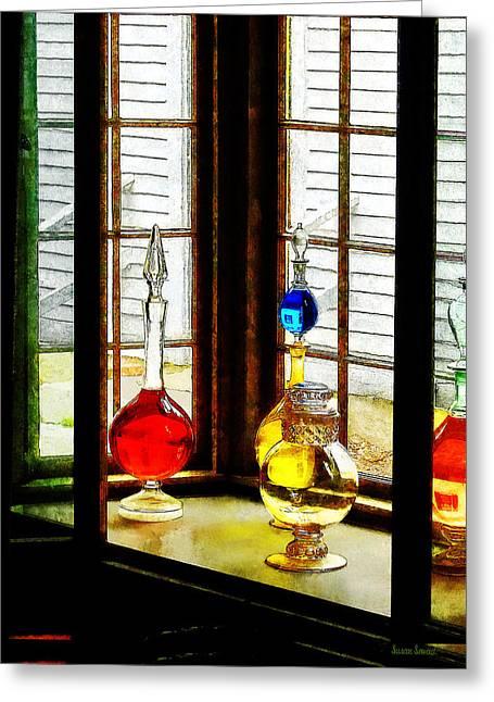 Doctors Greeting Cards - Pharmacist - Colorful Bottles in Drug Store Window Greeting Card by Susan Savad