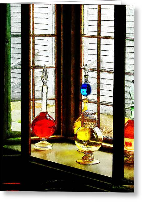 Drugstore Greeting Cards - Pharmacist - Colorful Bottles in Drug Store Window Greeting Card by Susan Savad