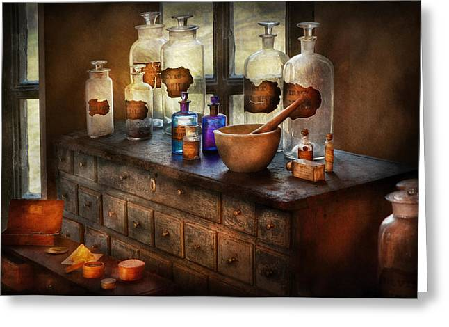 Merlin Greeting Cards - Pharmacist - Medicinal Equipment  Greeting Card by Mike Savad