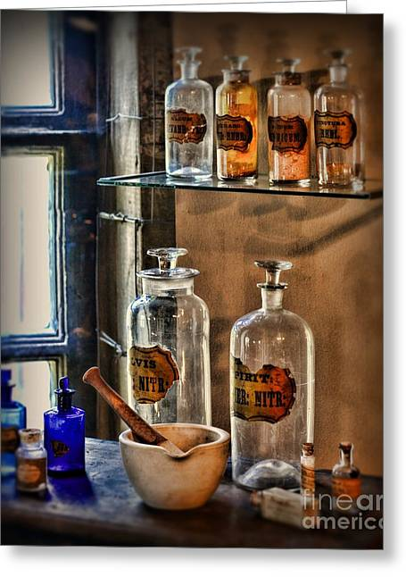 Medical Greeting Cards - Pharmacist - medicine bottles Greeting Card by Paul Ward