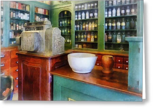 Pharmacist - Mortar And Pestle In Pharmacy Greeting Card by Susan Savad