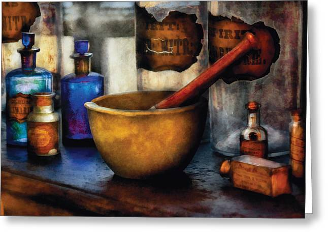 Glass Wall Greeting Cards - Pharmacist - Mortar and Pestle Greeting Card by Mike Savad