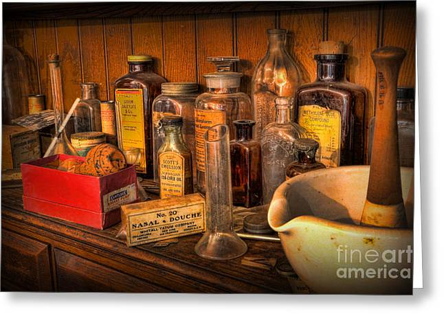 Medication Greeting Cards - Pharmacist -  Mortar And Pestle With Apothecary Bottles III Greeting Card by Lee Dos Santos