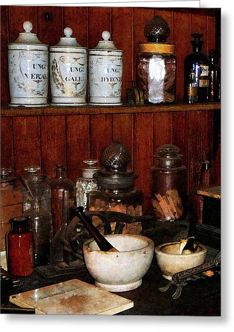 Medicine Greeting Cards - Pharmacist - Mortar and Pestles in Drug Store Greeting Card by Susan Savad