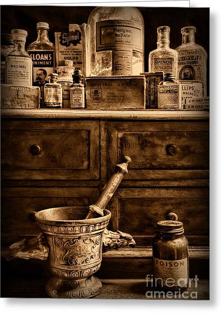 Old Grinders Greeting Cards - Pharmacist  Old Medicine in Black and White Greeting Card by Paul Ward