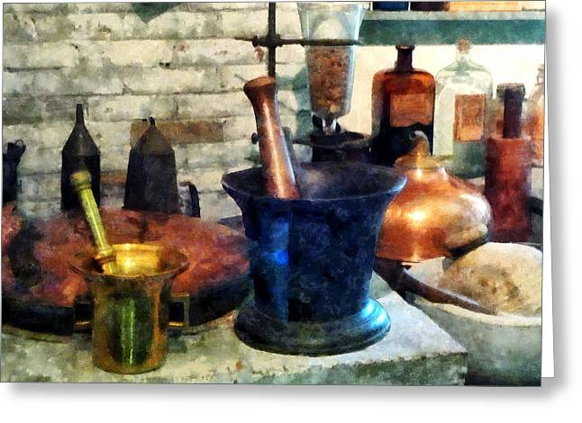 Susan Savad Greeting Cards - Pharmacist - Three Mortar and Pestles Greeting Card by Susan Savad